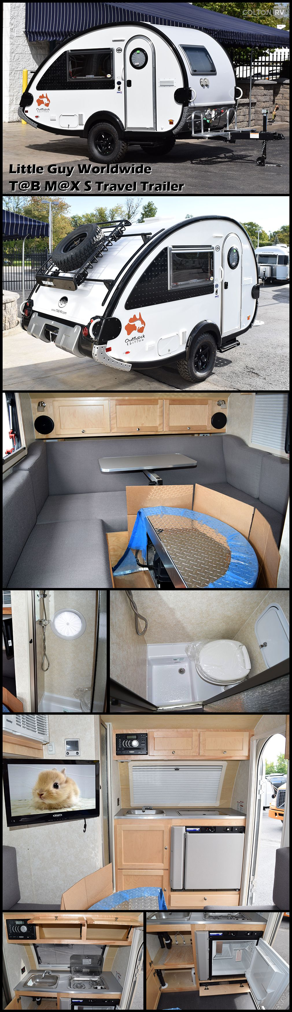 The LITTLE GUY WORLDWIDE T@B M@X S Teardrop Travel Trailer offers the lite footprint of teardrop camping without sacrificing your own personal toilet and shower. The S offers the traditional U kitchen and sleeping areas with the AC mounted on the wall.