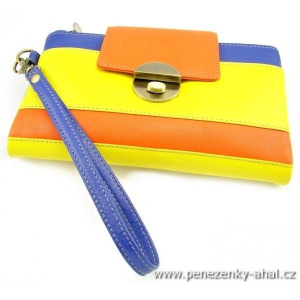 82b1ab19a03 ... Golunski uživatele peněženky AHAL. Luxusní dámská kožená peněženka s  ozdobená velkou přezkou nezvyklé modro-žluto-oranžové barvy.