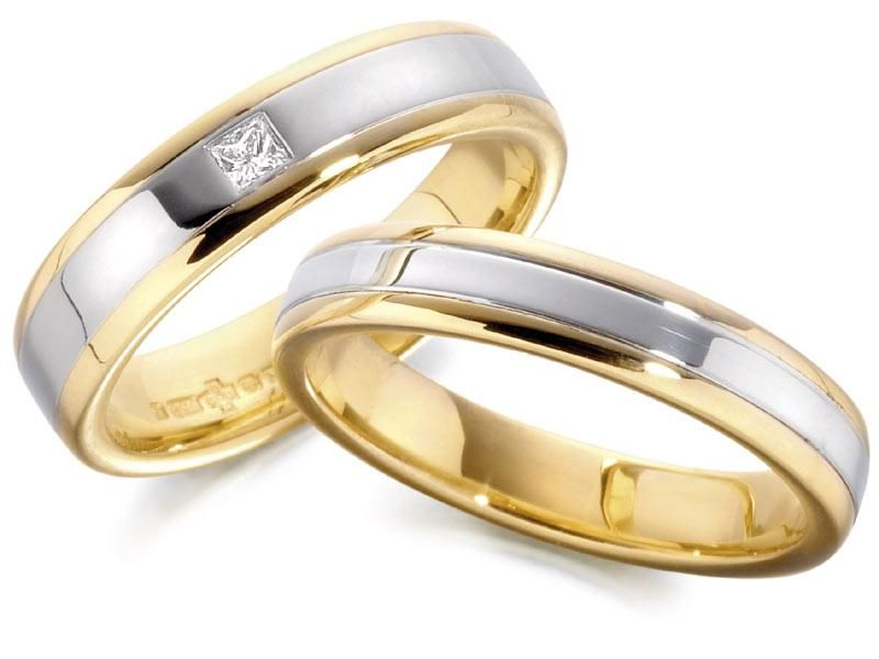 two tone engagement ring and wedding band sets gold and silver color simple round shape men and women diamond - Weddings Rings