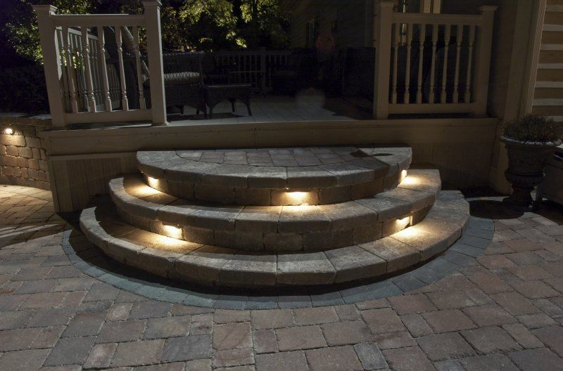 Deck With Stone Stairs Palos Park Step Lights Wall