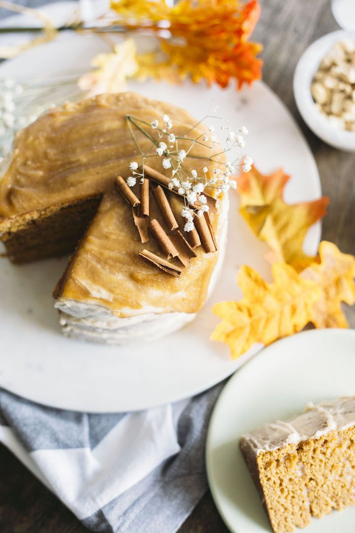 Vegan Pumpkin Cake A Scrumptious Cake Topped With A Cashew Cream Glaze And A Healthy Salted Carame Vegan Pumpkin Desserts Pumpkin Cake Recipes Vegan Desserts