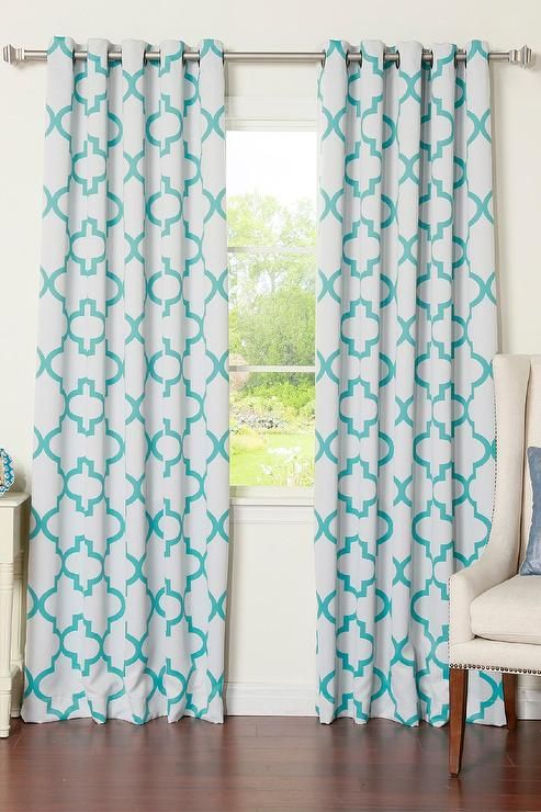 Charming White And Blue Moroccan Blackout Curtain