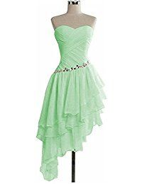 Omela Damen Asymmetrisch Kurz Kleid Abendkleider Chiffon Cocktailkleid Partykleid Promkleider