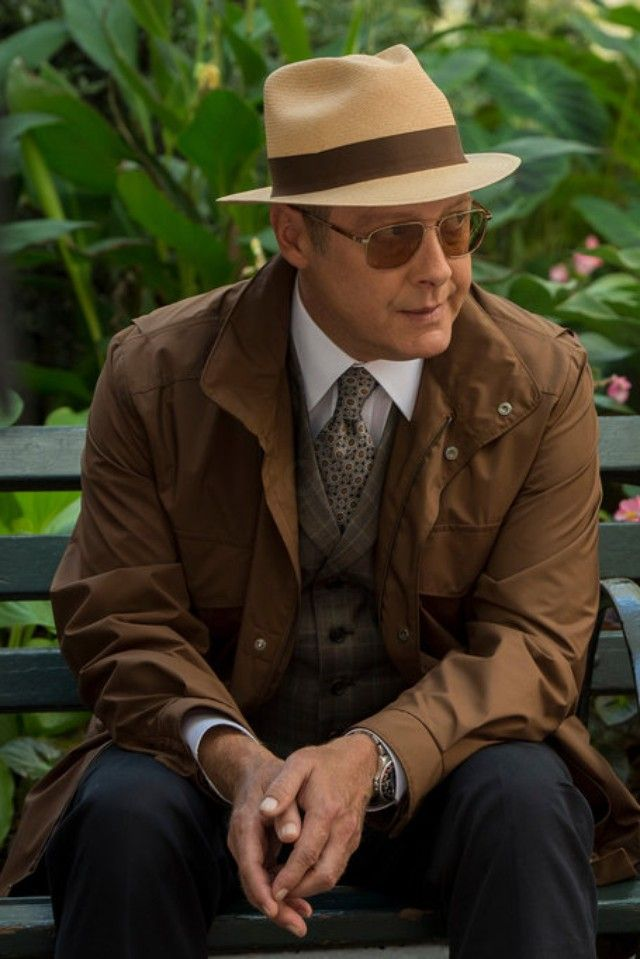Raymond Reddington wearing Oliver Peoples Victory Sunglasses, Stetson The Broadway by Biltmore, Loro Piana Windmate Storm System Jacket, Rolex GMT Master 16700