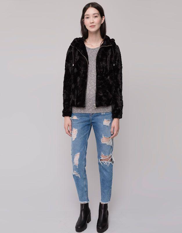 Pull&Bear - woman - jackets - short fur jacket with hood - black - 09712306-I2015