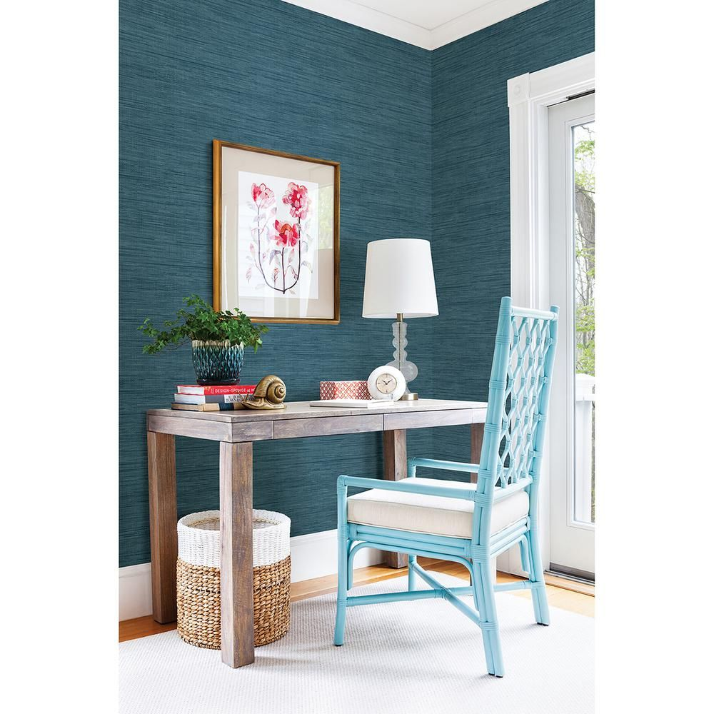 Brewster 56.4 sq. ft. Sea Grass Blue Grasscloth Wallpaper