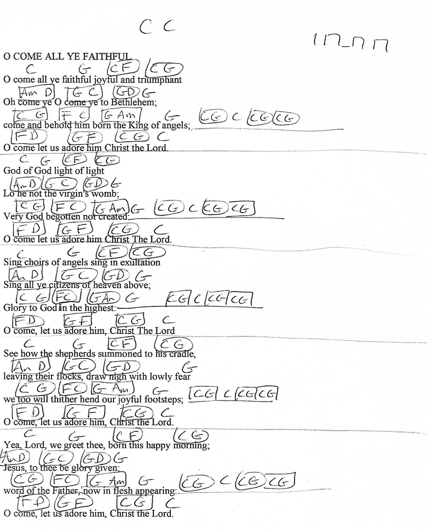 O Come All Ye Faithful (Christmas) C Major - Guitar Chord Chart with Lyrics - http://www.youtube ...