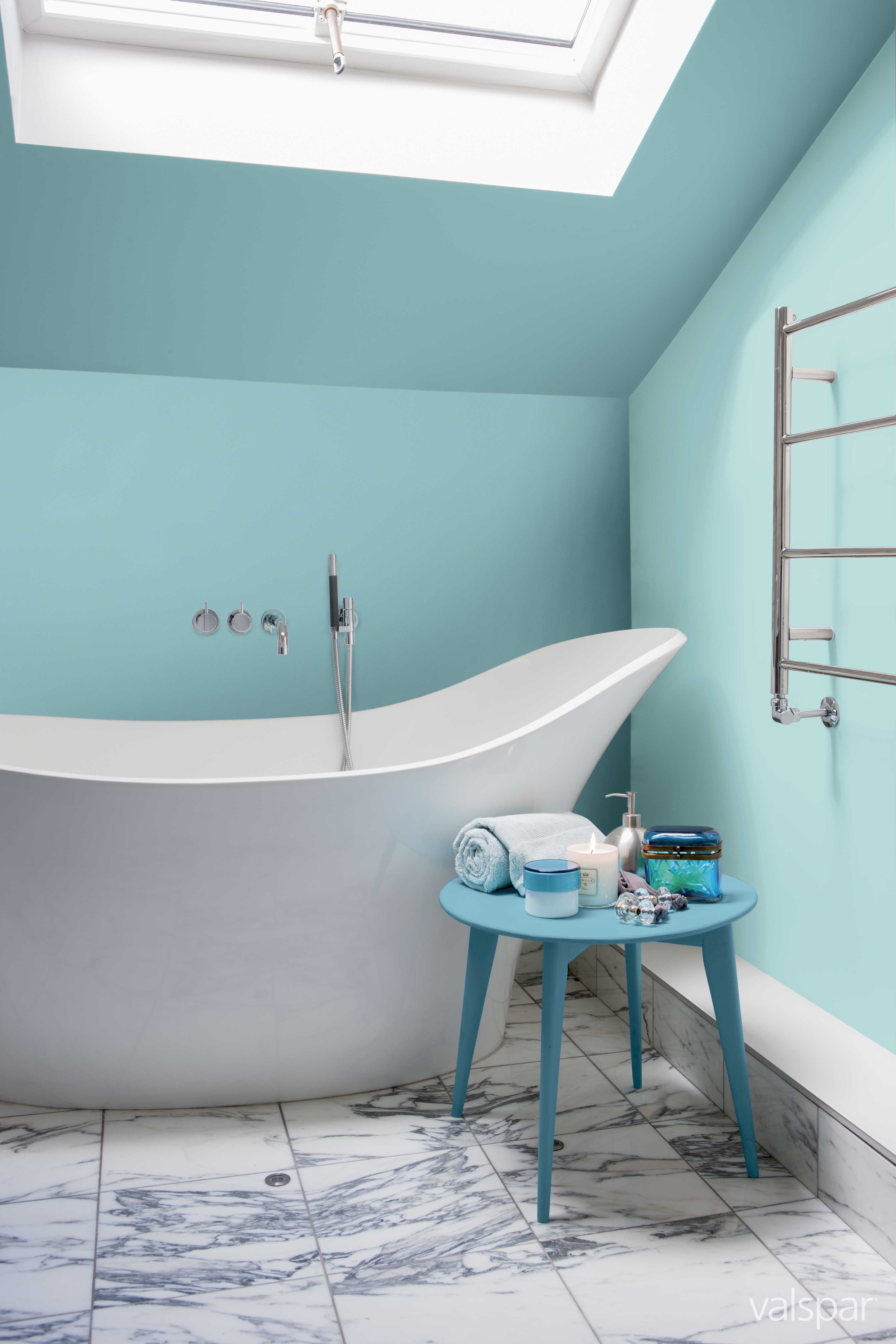 A lovely bright bathroom painted with Valspar Aquamarine