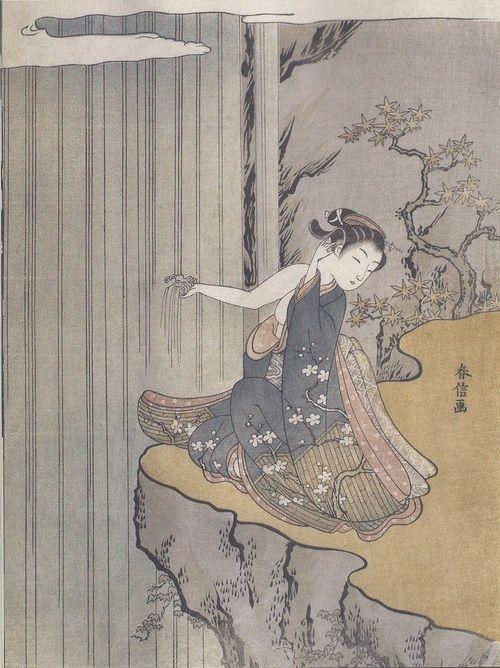 young woman gettign her hand wet at a waterfall / suzuki harunobu