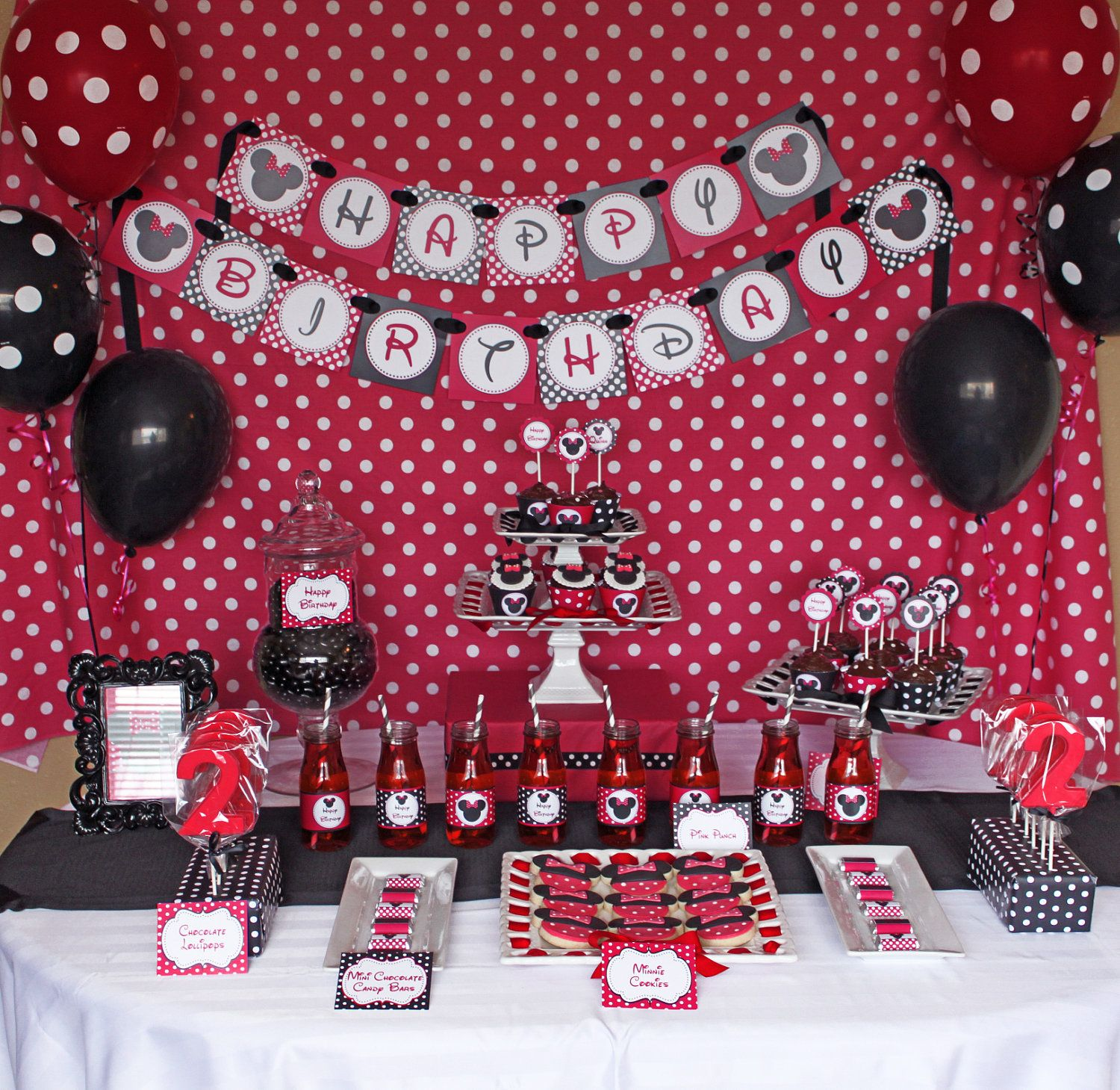 Minnie Mouse First Birthday Party Via Little Wish Parties: DIY Minnie Mouse Red Deluxe PRINTABLE Birthday Party