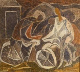 Alan Thompkins Cubist - Cyclists - Oil American Art Deco