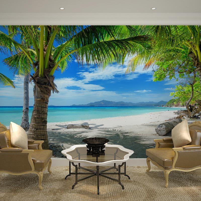 Günstige Custom Home Decor Wandbilder Papel De Parede Tropical