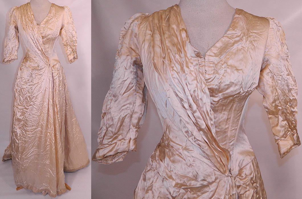 ca 1880s St Louis MO Label Silk Bustle Wedding Gown | Wedding ...