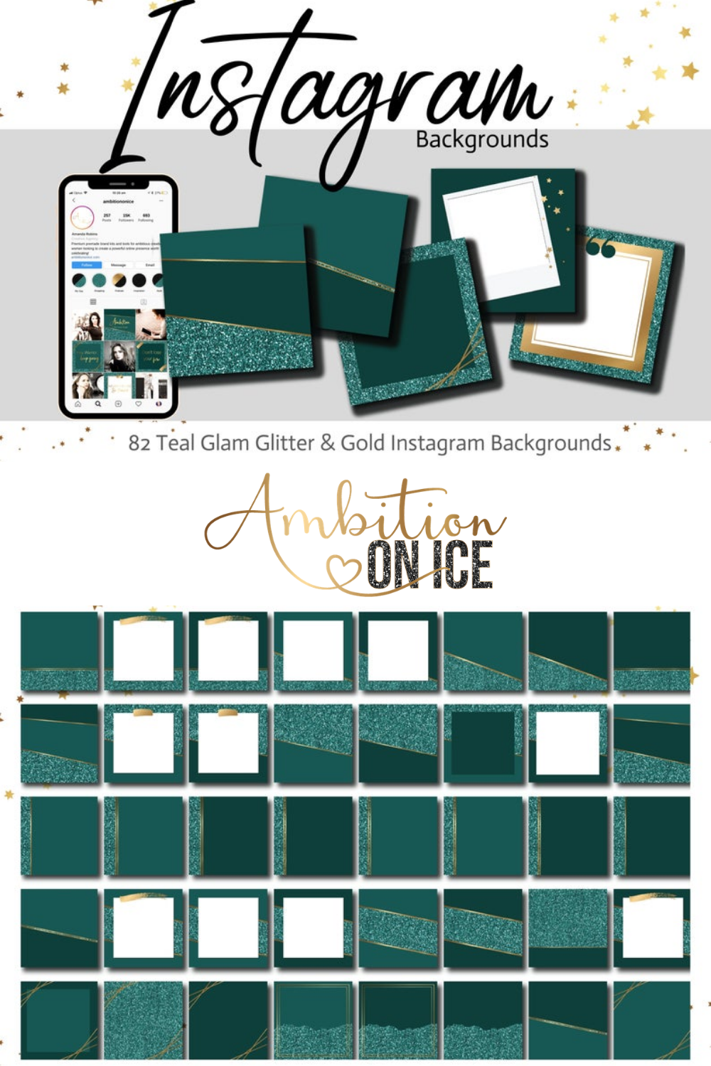 82 Teal Glam Glitter & Gold Instagram Feed Backgrounds