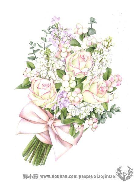 猫小蓟的相册-《你绘幸福的》画花束的书~~
