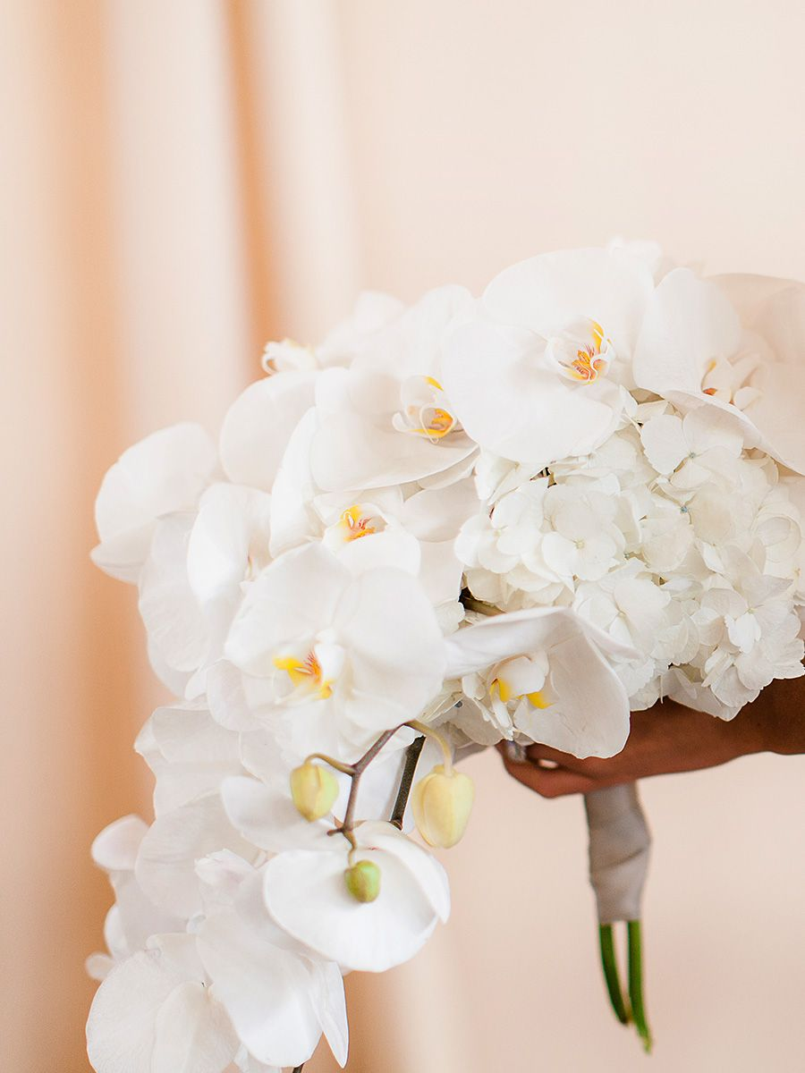 Cascading White Bouquet With Hydrangeas And Orchids Wedding
