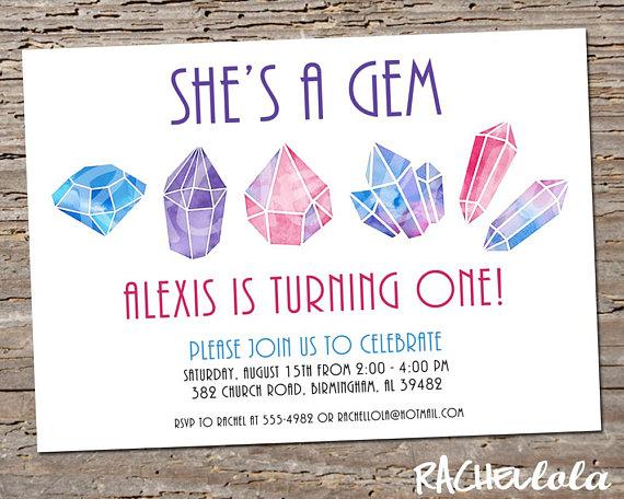 She's a Gem, 1st birthday party invitation, Little gem, Rock