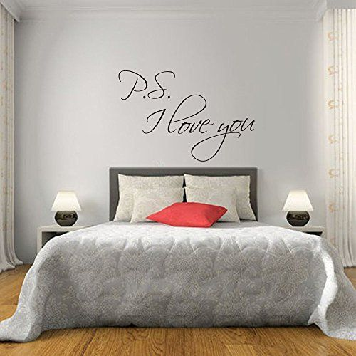 Bedroom Designs For Couples Kids Bedroom Blinds Urban Bedroom Decor Bedroom Carpet Tiles Uk: PS I Love You Wall Stickers Quotes Vinyl Decal Couple