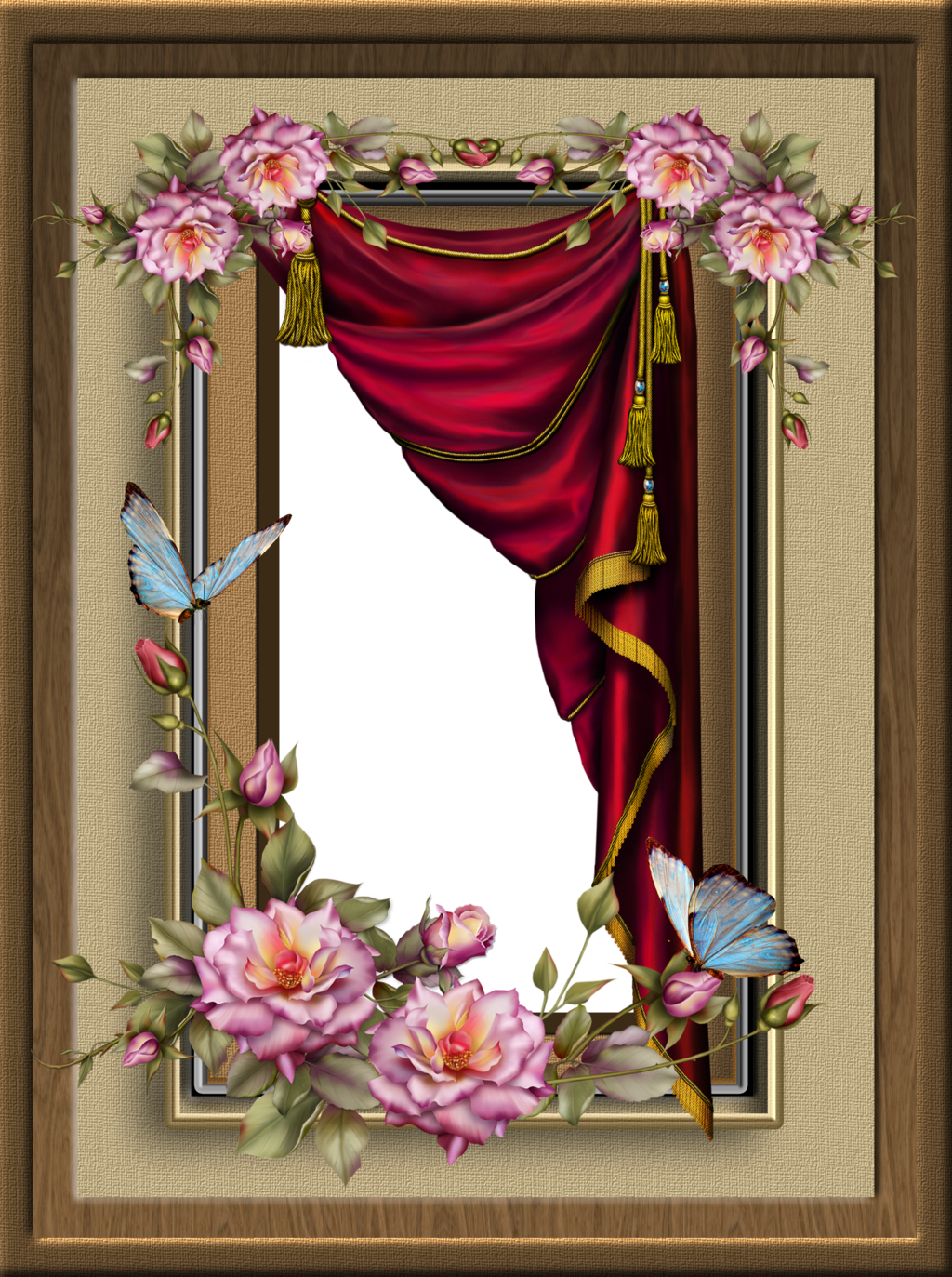 Red Curtain Frame\