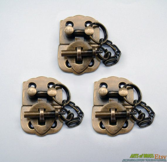 Lot of 3 pcs Solid Brass Vintage Handle Locking BOX LATCH  Treasury Box