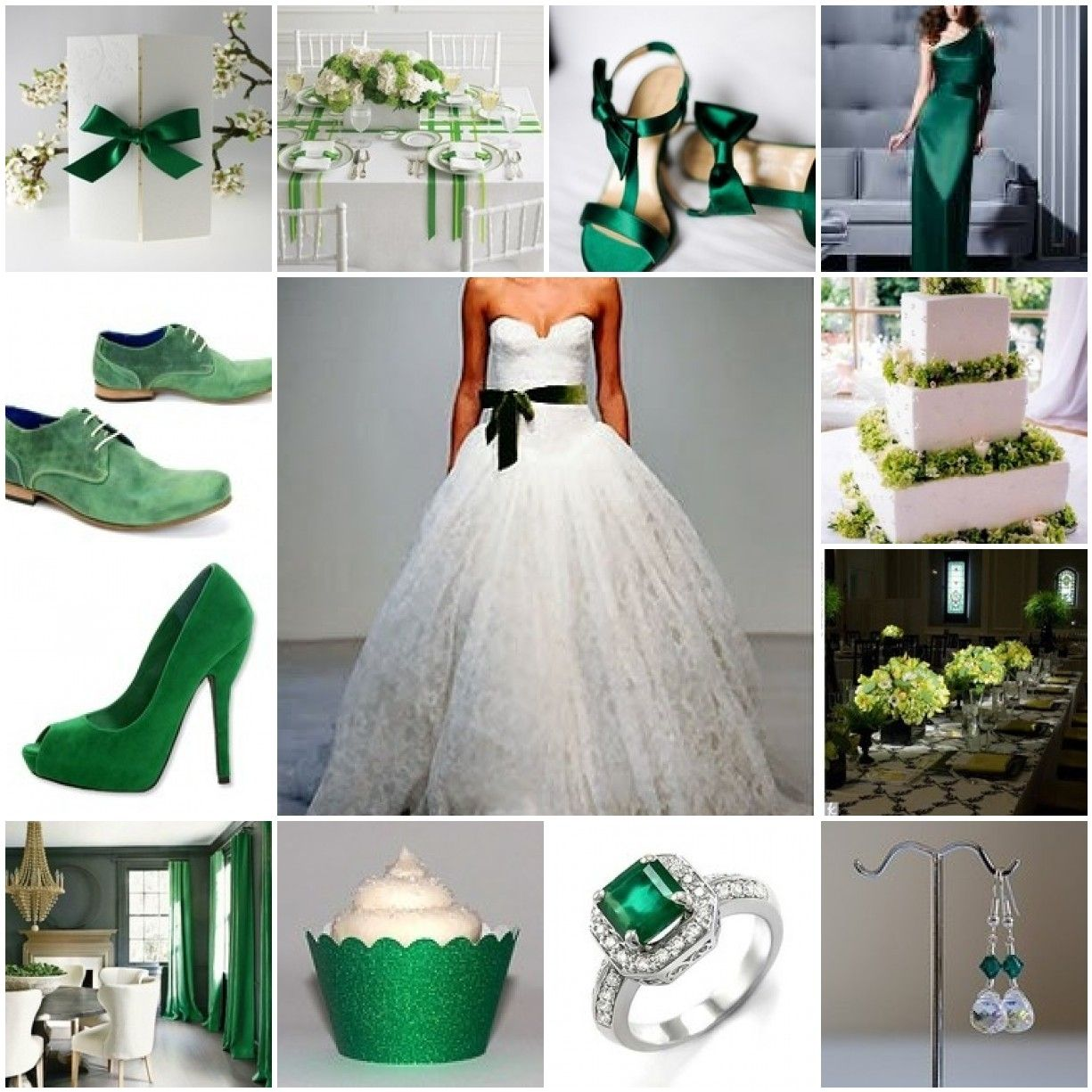 Emerald Green Bridesmaid Dress Shoes Ring White Wedding Accessories And Cake