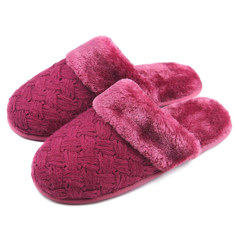 Women Soft Cozy Plush Warm Home Slippers Non Slip Cable