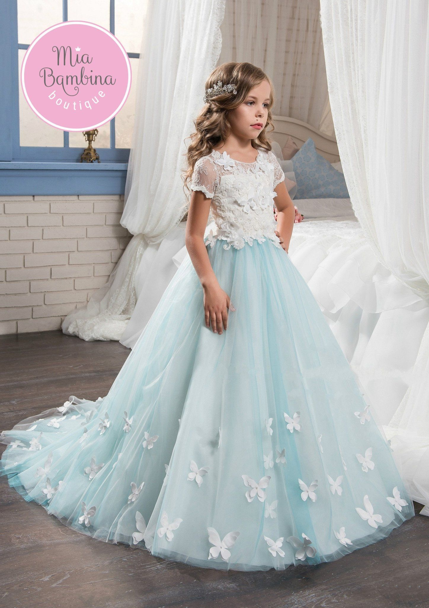 The Aurora is a flower girl dress with beautiful white lace ...