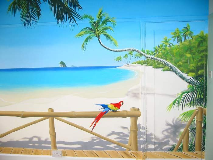 3d murals tropical paradise mural palm fringed beach for Beach mural painting