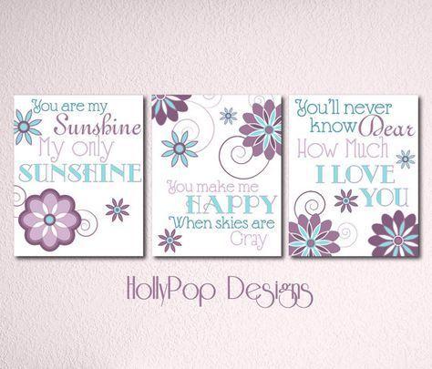 Nursery Wall Decor-Girls Room Art Prints-You are My Sunshine ...