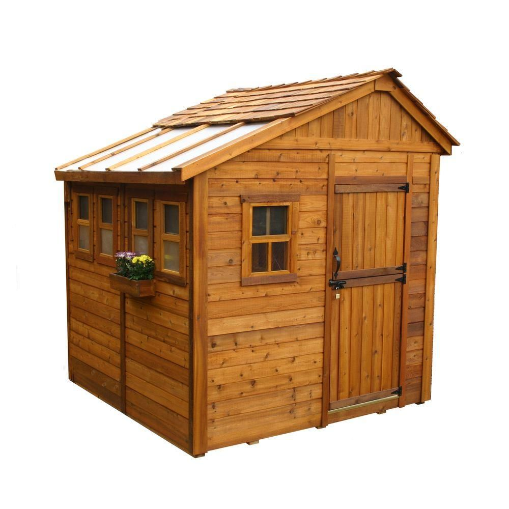 Outdoor Living Today Sunshed 8 Ft X 8 Ft Western Red Cedar Garden Shed Ssgs88 The Home Depot Wood Shed Plans Building A Shed Shed Design