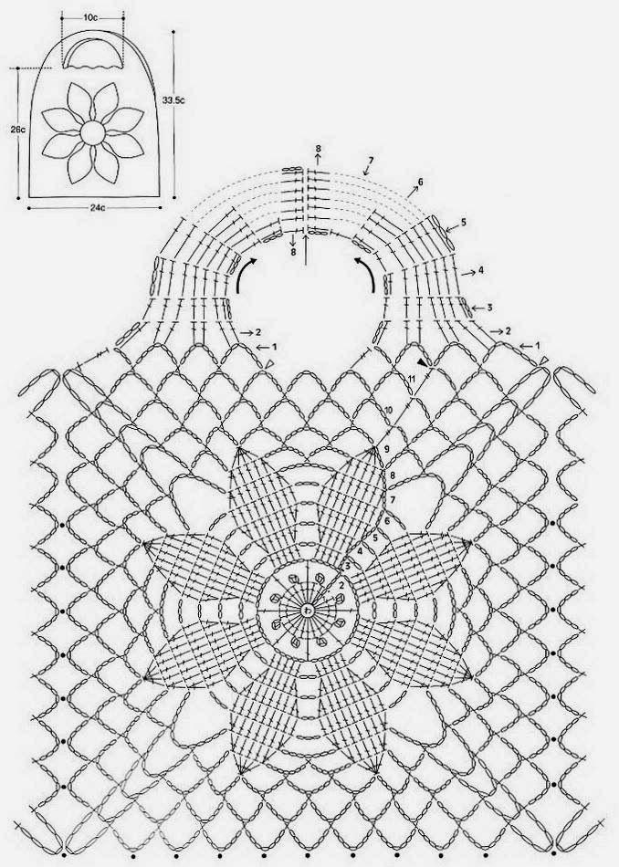 Bolso Flor Central Crochet Patron - Patrones Crochet | Crochet Bags ...