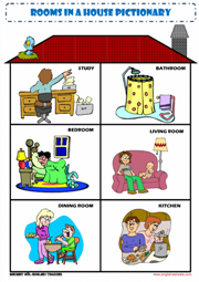 Rooms in the House Picture Dictionary ESL Worksheet ...
