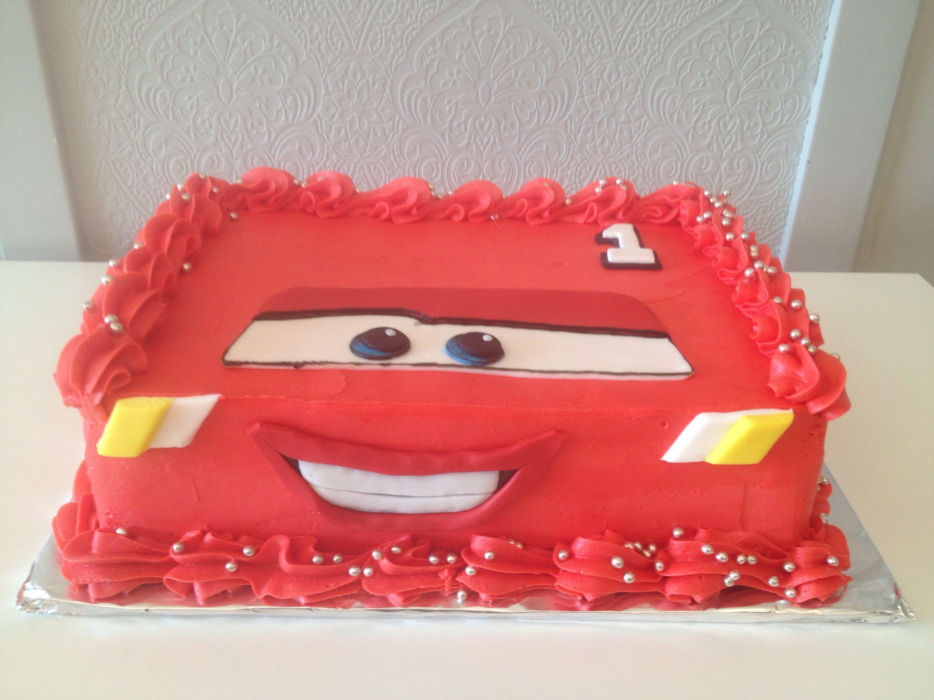 Disney Cars Cake Lightning Mcqueen Red Butter Cream Icing Hand
