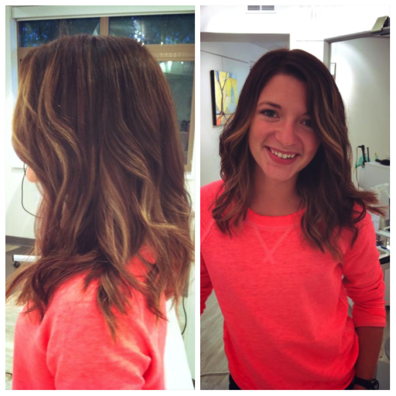 Ombre Natural Looking Brown With Blonde Highlights Mid Length
