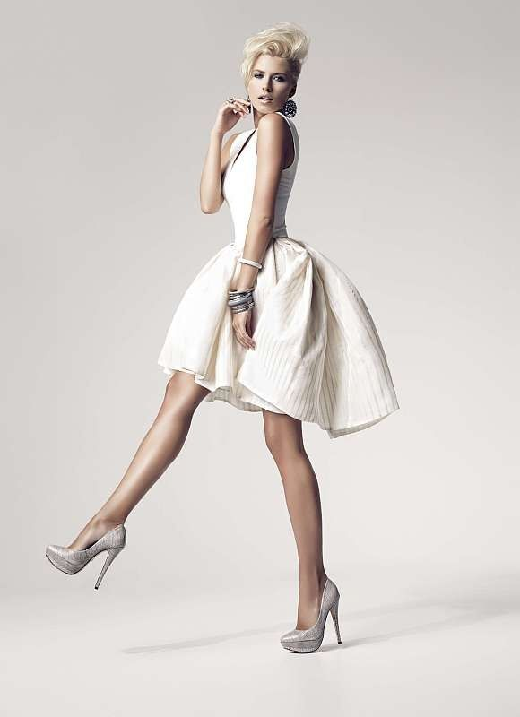 Little white dress and silver shoes
