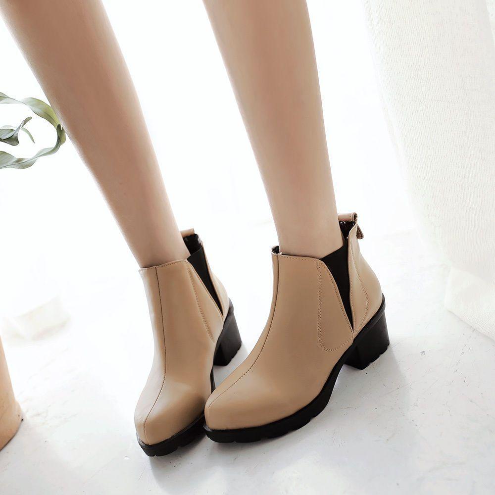 Vogue Womens Fashion Chelsea Ankel Boots Pull On Elastic Chunky Heel Platform Sz