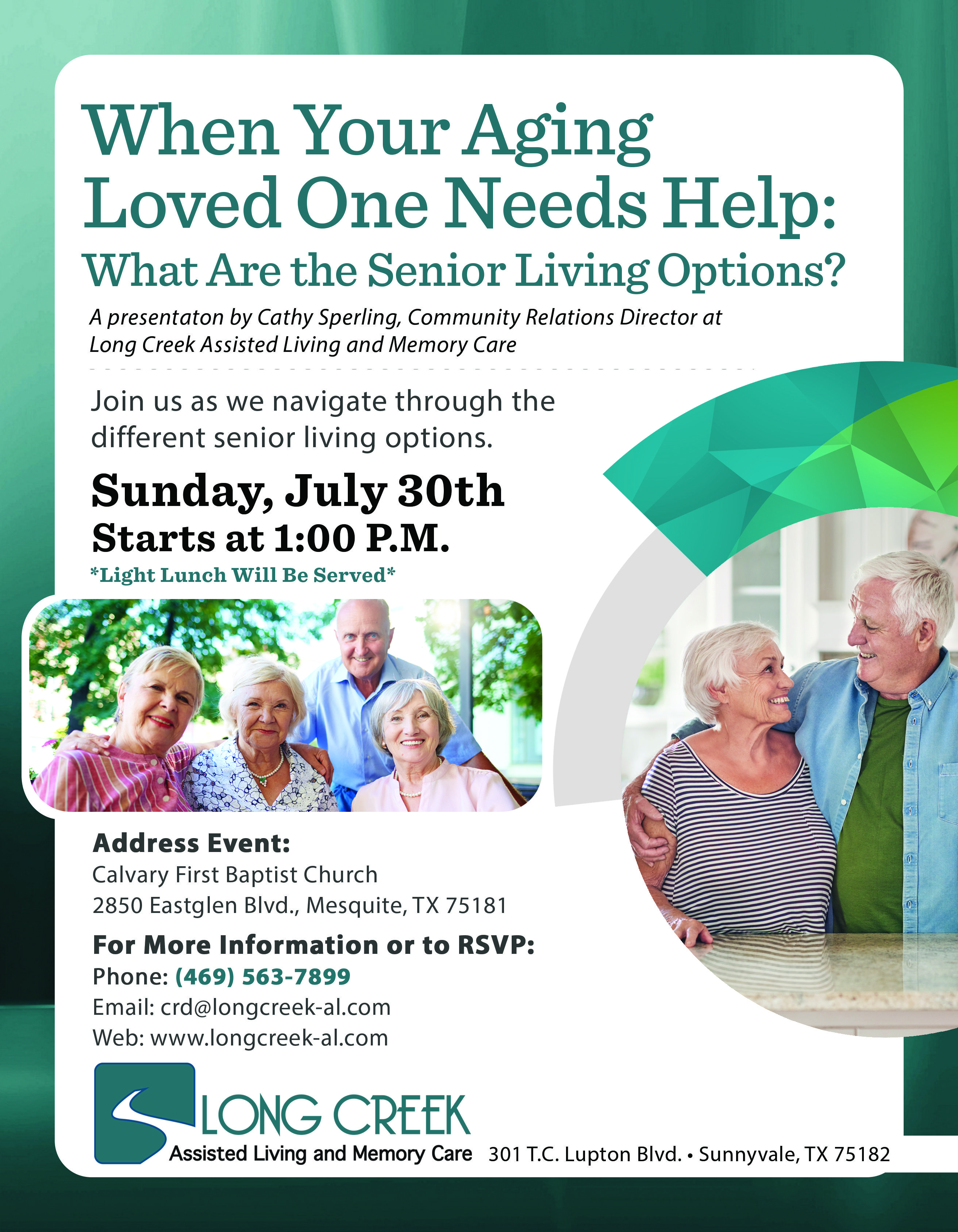 Upcoming Event At Long Creek Assisted Living And Memory Care In Sunnyvale Texas Senior Living Event On Senior Living Marketing Senior Living Senior Activities