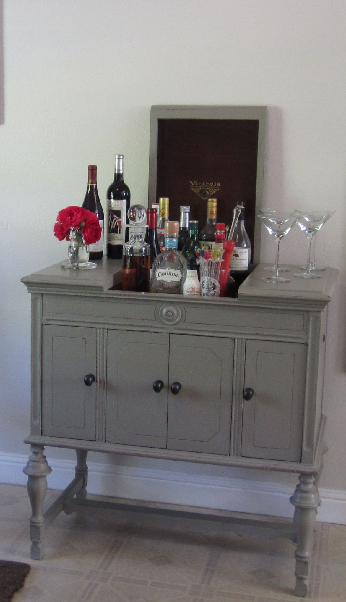 Antique Victrola cabinet becomes a bar w/ - I Have This Piece! Great Idea! Antique Victrola Cabinet Becomes A