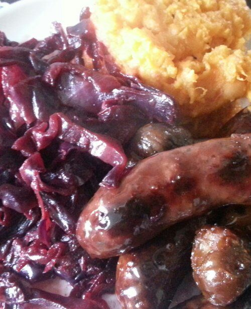 Glazed Venison Sausages and Braised Cabbage
