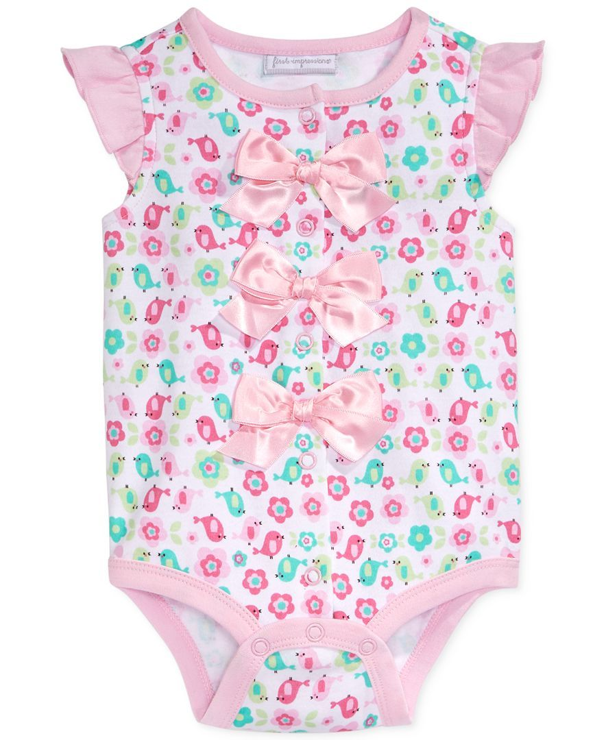 First Impressions Baby Clothes Endearing First Impressions Baby Girls' Birdprint Bow Creeper  For My Newest Design Decoration
