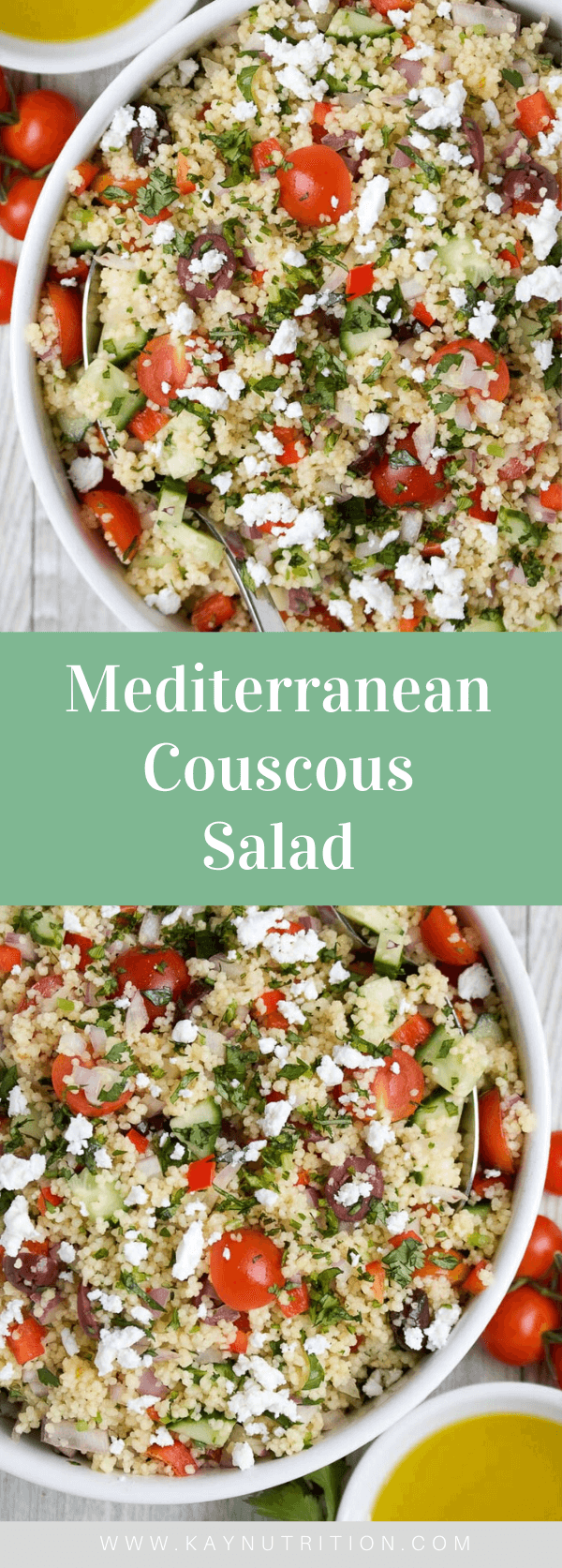 Filled with Greek flavours, this Mediterranean Couscous Salad recipe is quick and easy to make, and packed full of fresh vegetables and fibre making it a healthy side dish or lunch. Not only is this healthy recipe easy to make, but it stores well in the fridge for up to 3 days making it a great healthy meal prep idea. #couscous #recipes #healthyrecipes #saladrecipes
