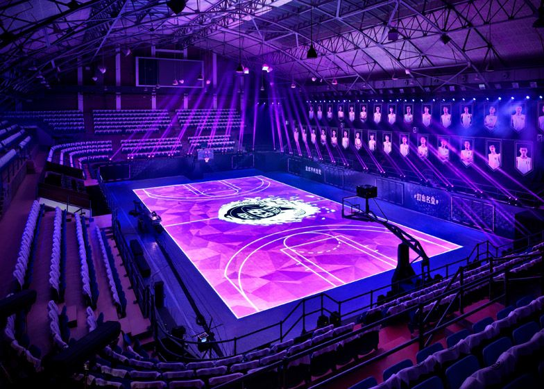 Nike Creates First Led Basketball Court In Shanghai For Kobe Bryant Indoor Basketball Court Basketball Court Basketball Workouts