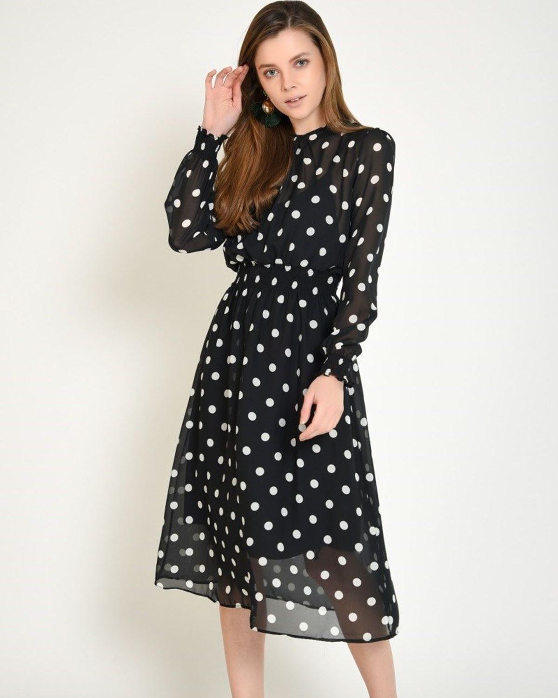 Kolu Lastikli Puantiyeli Sifon Elbise Elbise Modelleri Elbise Sifon Elbise