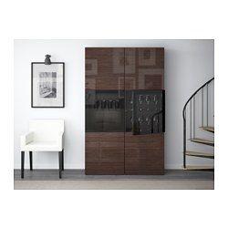 "BESTÅ Storage combination w/glass doors, black-brown, Selsviken high gloss/brown clear glass - 47 1/4x15 3/4x75 5/8 "" - IKEA"