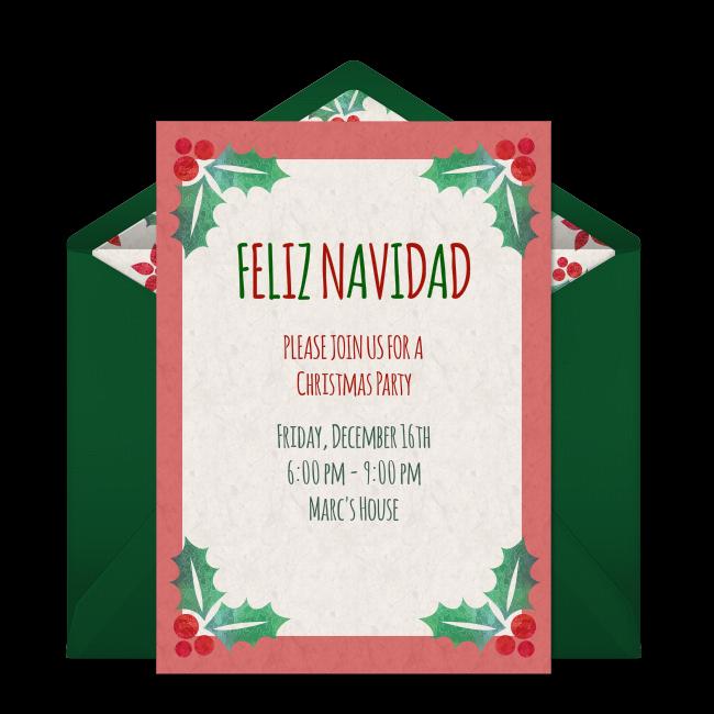 Free Feliz Navidad Invitations Christmas Diy Pinterest