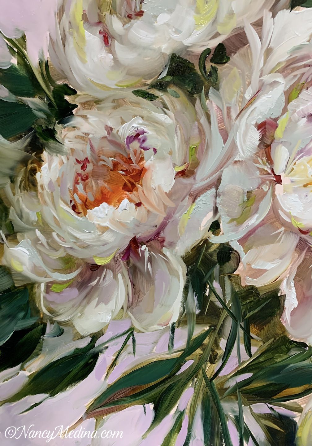 Special Delivery Peonies 16x16 Oil By Nancy Medina Peony