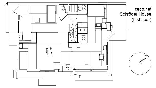 Nice Schroder House In Utrecht   First Floor Block In Architecture Autocad Free  Drawing 307 In Top Or Plan View