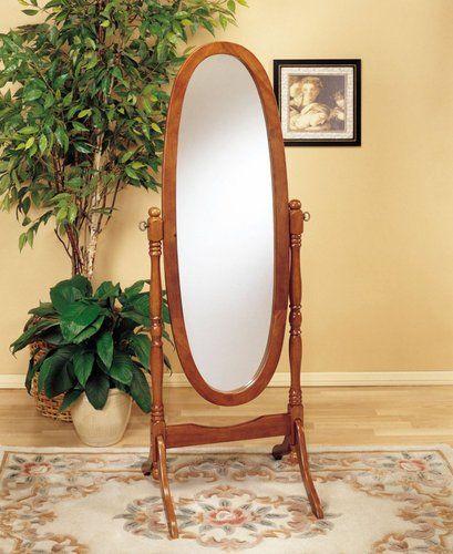 Frenchi Home Furnishing Oak Cheval Mirror, Adjustable Full-length ...