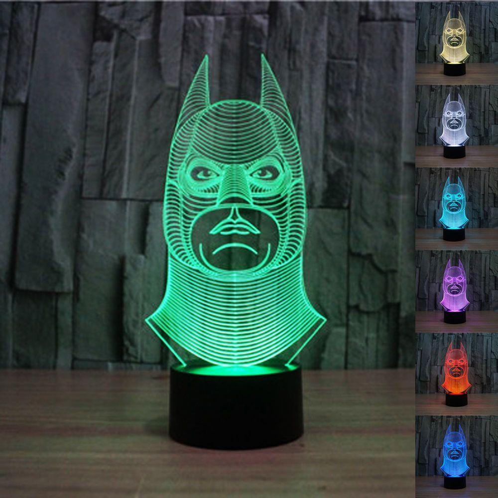 Great Batman 3D Bulbing Illusion Touch Button Multi Color Change LED Desk Light  Lamp #Padaday