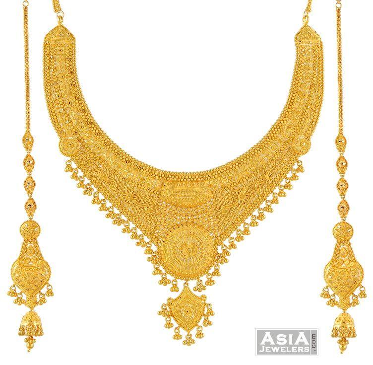 Necklace Earring Sets 22k Set Big Gold Bridal I